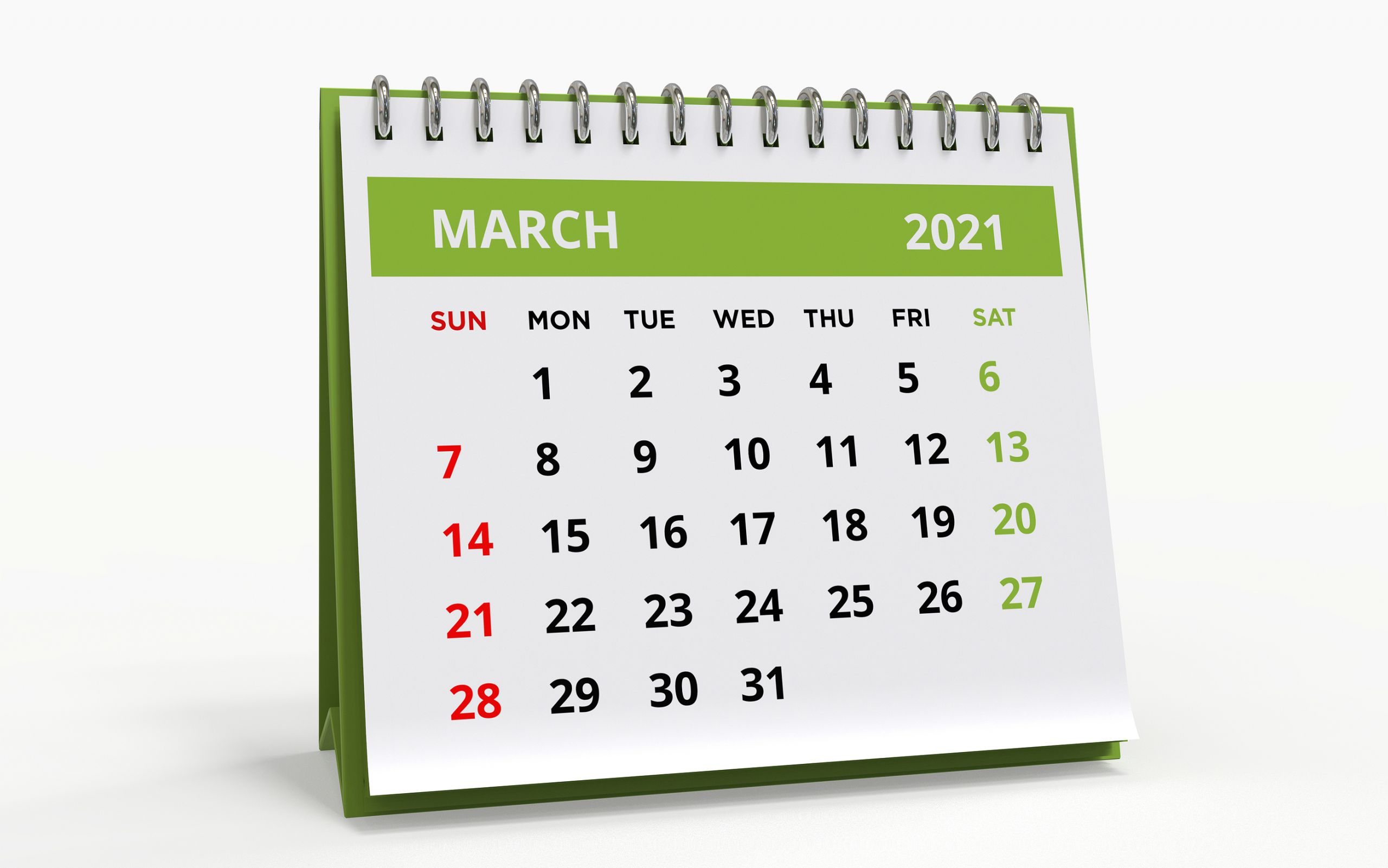 Standing Desk Calendar March 2021. Business Monthly Calendar Wit